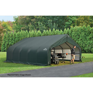 Peak Style Shelter 18x28x11 Steel Frame in Green Cover
