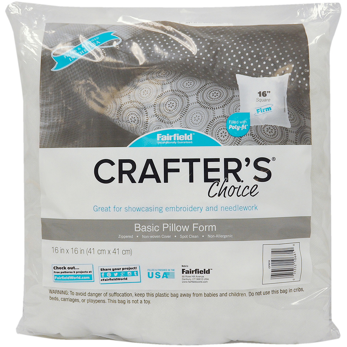 "Fairfield Crafter's Choice Pillow Insert, 16""X16"", 1 Each"