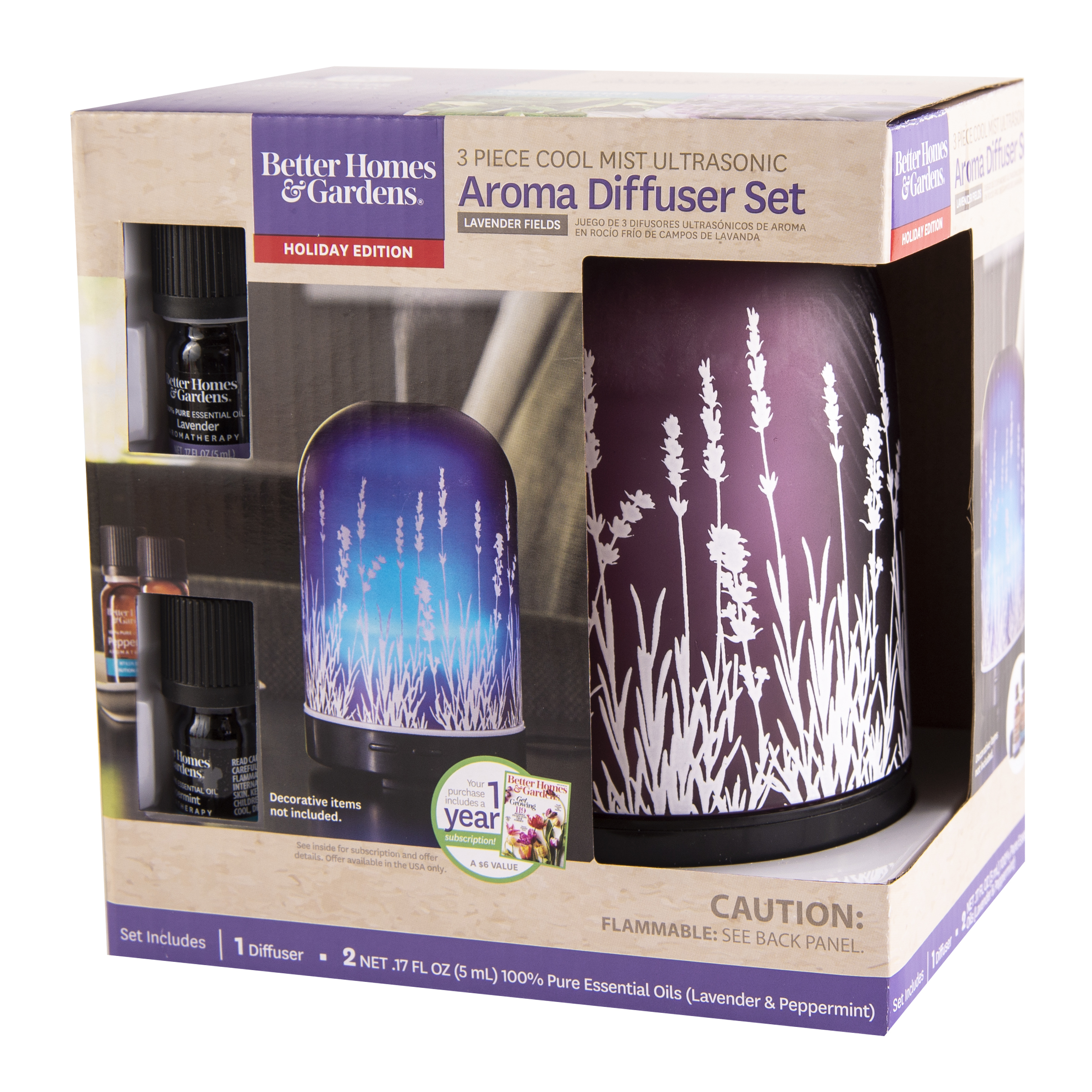 Better Homes & Gardens 3 Piece Lavender Fields 100 mL Cool Mist Ultrasonic Aroma Diffuser Set