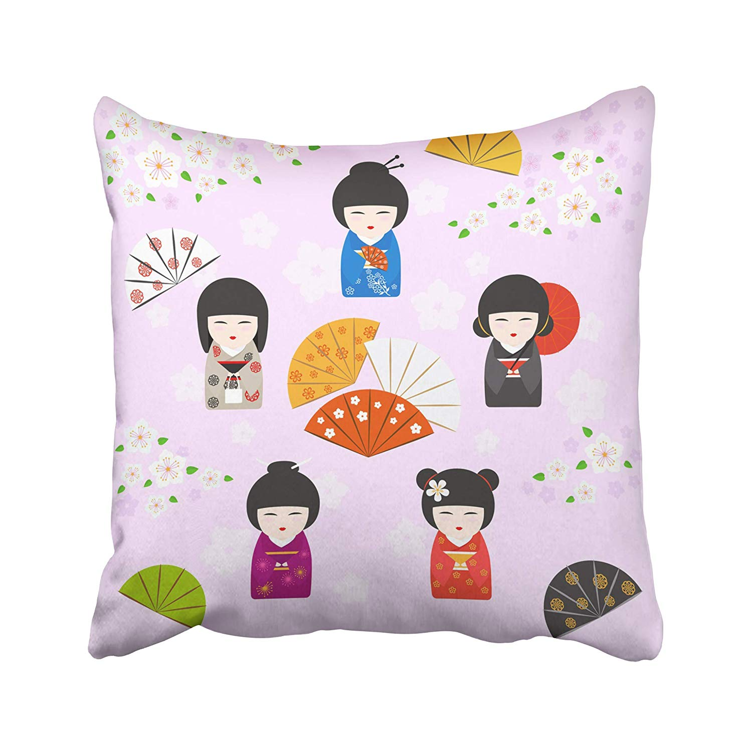 ARHOME Japanese Kokeshi Dolls with Cherry Blossoms Fans and Umbrella on Pink Pillow Case Pillow Cover 18x18 inch Throw Pillow Covers