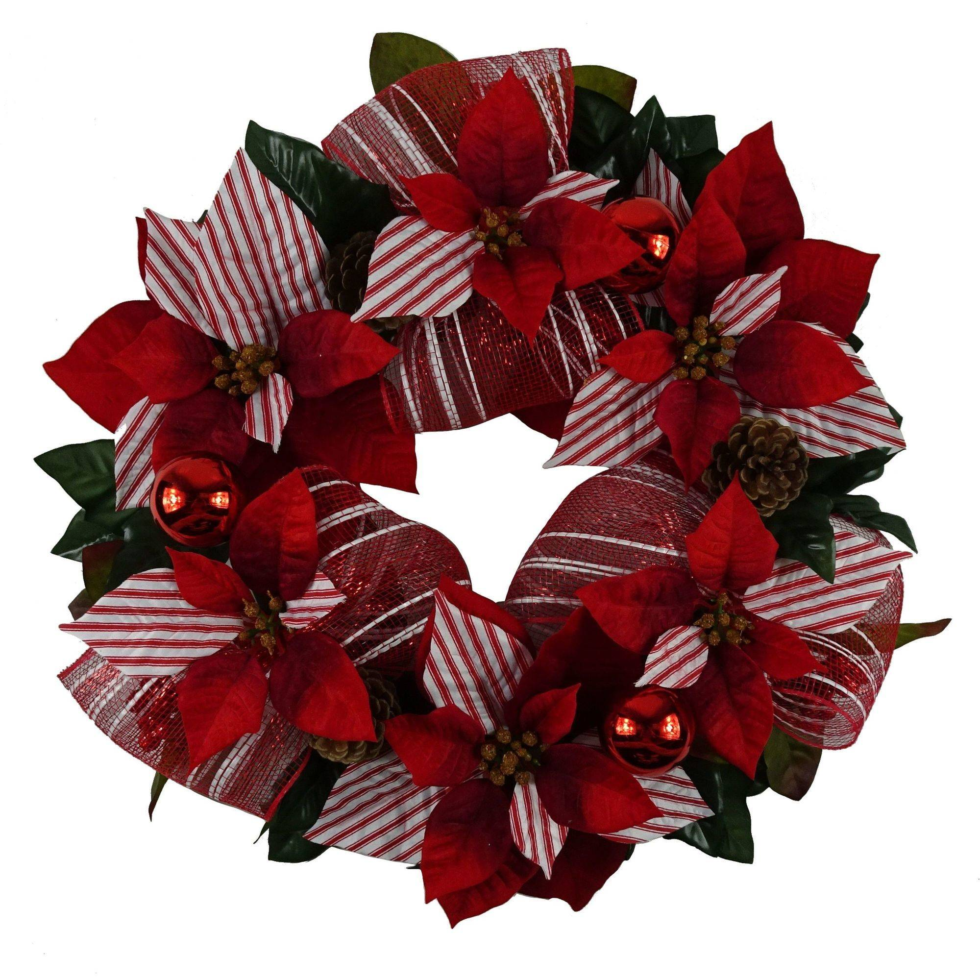"Holiday Time Christmas Decor 18"" Red Poinsettia / Mesh Ribbon Wreath"