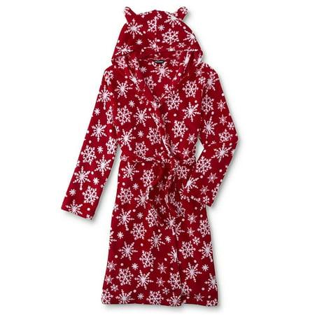 Girls Fleece Shawl Collar Robe - Joe Boxer Girls' Plush Fleece Snowflake Hooded Robe Pajamas (Small (6/6x))