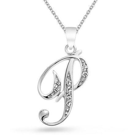 Initial 925 Silver Jewelry Pendant - 925 Silver CZ Cursive Initial Letter P Alphabet Necklace