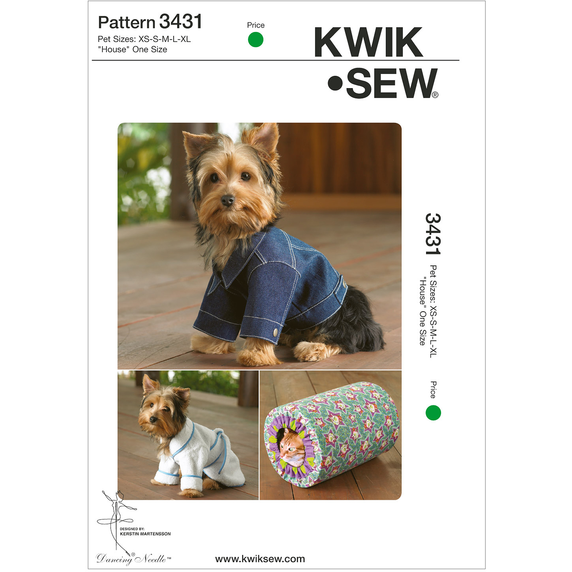 Kwik Sew Pattern Pet Robe, Jacket and House, Pet (XS, S, M, L, XL)