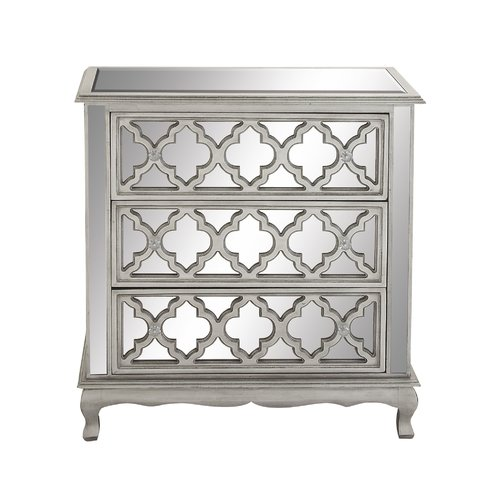 Cole & Grey 3 Drawer Wood Mirror Dresser by DecoMode Collection