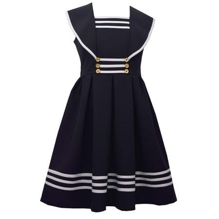 916ea571d804a Bonnie Jean Girls Sailor Collar Gold Button Nautical Dress 12