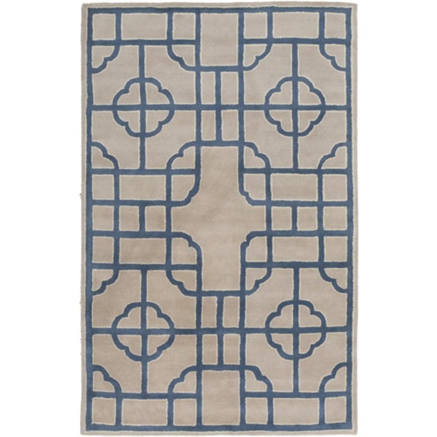 5' x 8' Mosaic Delight Sky Blue and Cream White Hand Tufted Area Throw Rug