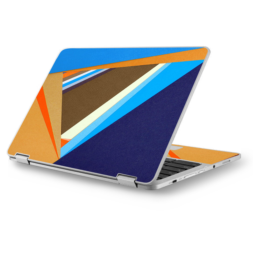 "Skins Decals for Asus Chromebook 12.5"" Flip C302CA Laptop Vinyl Wrap / Abstract Patterns Blue tan"