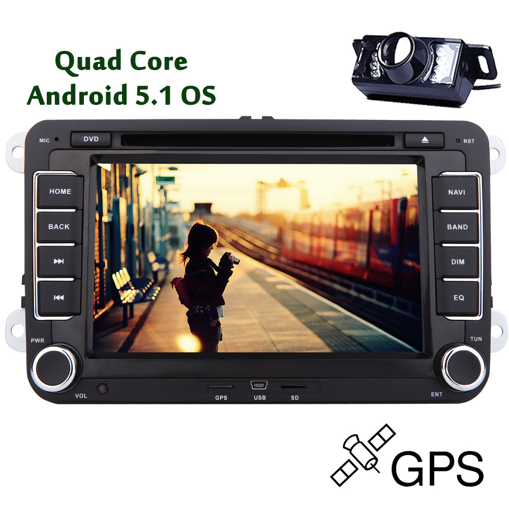 EinCar Capacitive GPS Navigation Android 5.1 Quad Core Bluetooth Radio Receiver Audio Parts For Volkswagen FM AM CD 2 Din Vehicle Stereo Video Autoradio Multimedia System Car DVD Player 8 Inch RDS Su