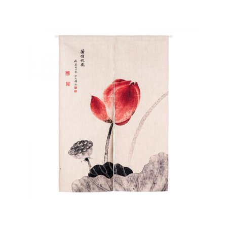 Cotton Modern Curtain - Ropalia Modern Chinese Classical Lotus Cotton Linen Curtain Window Door Hanging Decor