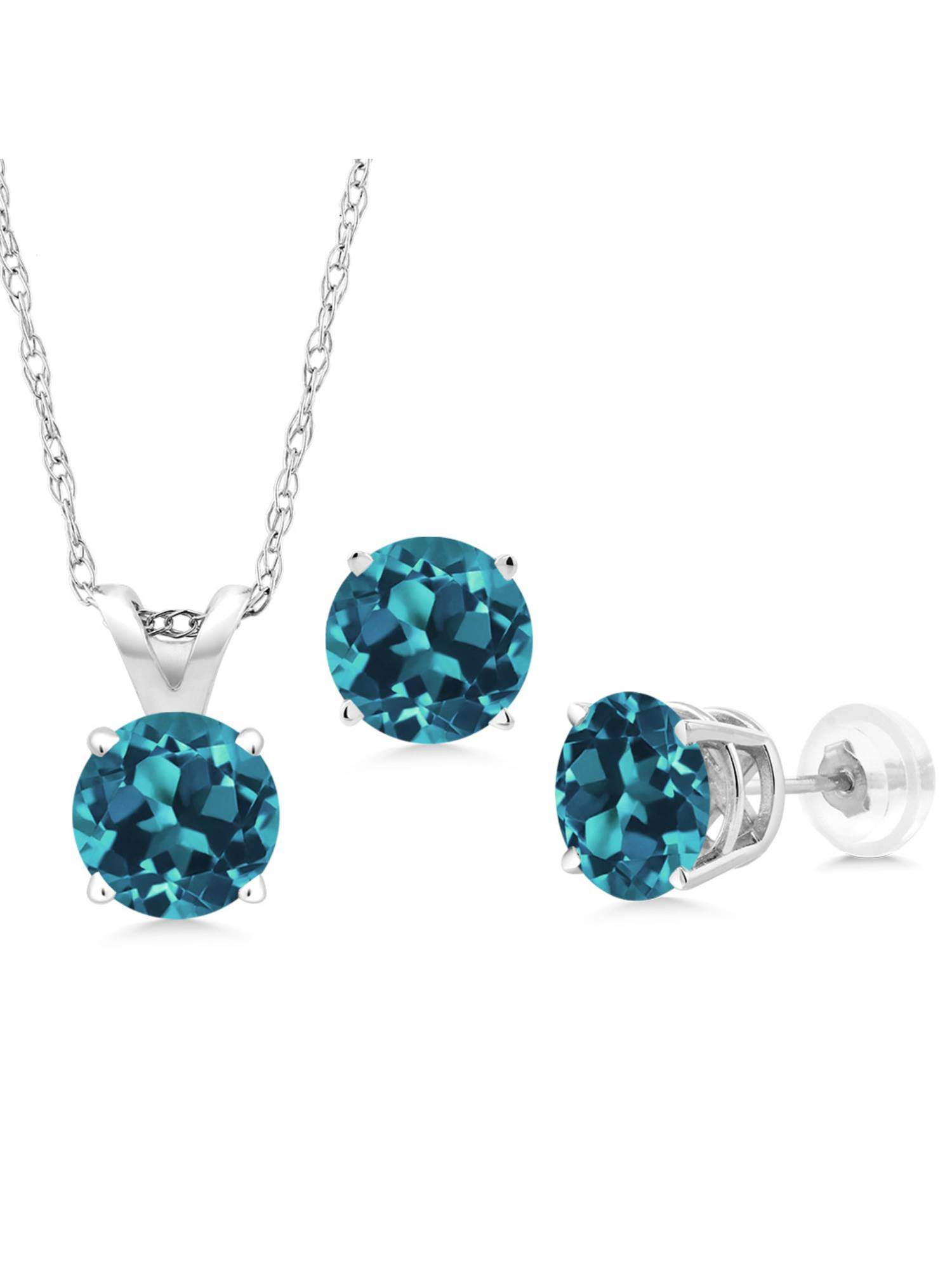 2.25 Ct Round London Blue Topaz 14K White Gold Pendant Earrings Set With Chain by