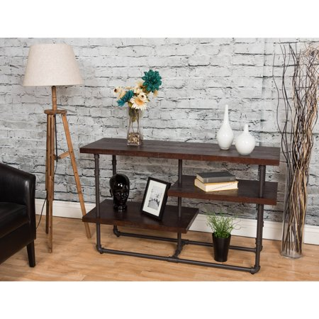 Starfish Furnishings Reclaimed Distressed Wood 3-Shelf Media Console, for TV's up to 60″, Dark Merlot Finish