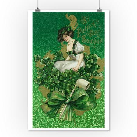St. Patrick Day Souvenir Woman on Clover Scene (9x12 Art Print, Wall Decor Travel Poster) Woman Art Poster