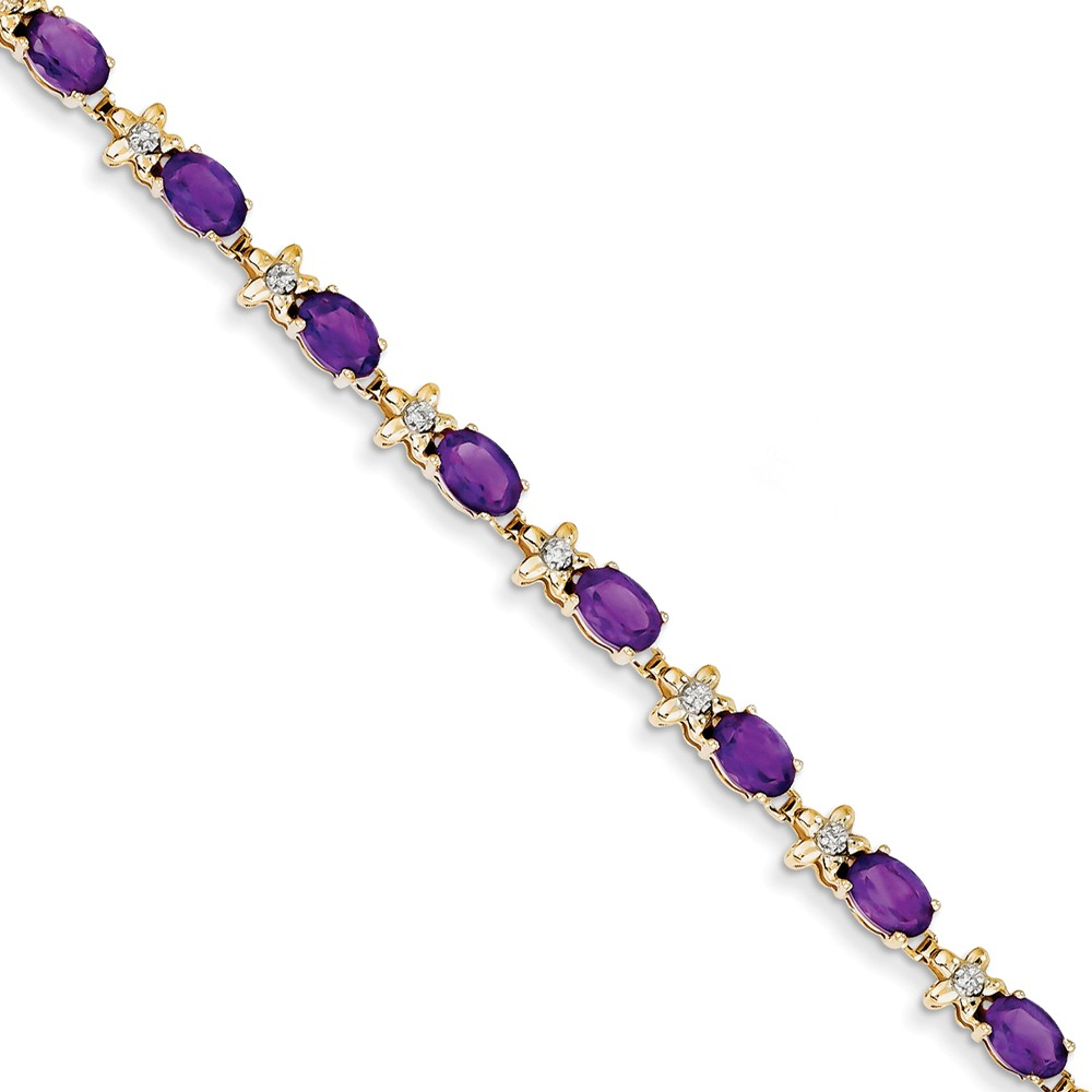 "14K Yellow Gold (0.112cttw) Floral Diamond  Amethyst Bracelet -7"" (7in x 6mm) by"