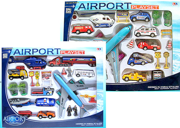 20 Piece Set Airport Toy Set Airplanes PlaySet Signs Cars Helicopter Play Jugete de... by