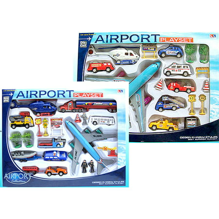 20 Piece Set - Airport Toy Set Airplanes PlaySet Signs Cars Helicopter Play Jugete de Aviones Carros