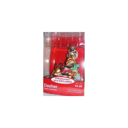 2010 Exclusive Santa Claus Reindeer Dasher Glass Christmas Ornament