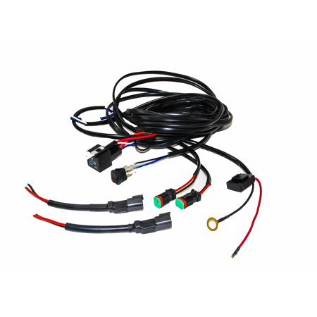 OZ-USA 16# AWG Double DT Plug Wiring Harness Kit with DC 12v 40A Relay, 20A Fuse, Lighted On/Off