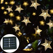 Solar Star String Lights, Outdoor Solar Powered Twinkle Fairy Lights, 30ft 50LED Waterproof Christmas Starry Ambiance Lights for Gardens Lawn Patio Landscape Xmas Tree New Year Holiday