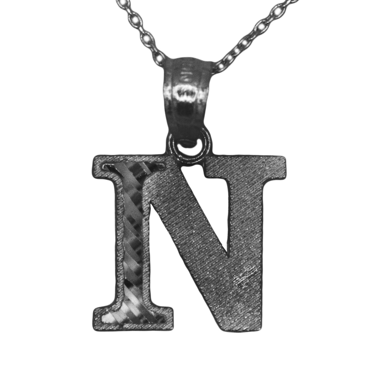 925 Black Rhodium Sterling Silver Letter N Initial with Diamond Cut Finish Pendant Necklace (No Chain)