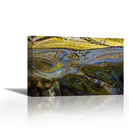 Autumn Patterns In Small Waterfall Canterbury New Zealand Contemporary Fine Art Giclee On Canvas Gallery Wrap Wall Decor Art Painting 36 X