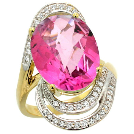 14k Gold Natural Pink Topaz Ring 16x12 mm Oval Shape Diamond Halo, 1 in , size 5.5