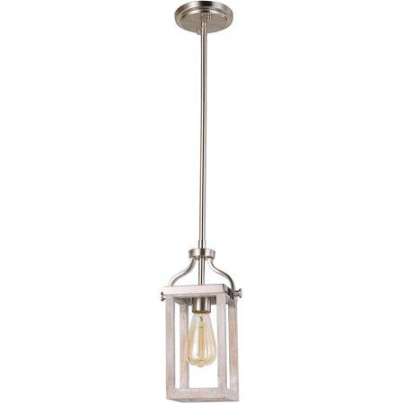 Acacia 1 Light (Mini Pendants 1 Light Fixture With Acacia Wood and Brushed Nickel Finish Steel E26 5
