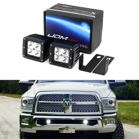iJDMTOY Complete 40W High Power CREE LED Fog Light Kit w/ Lower Bumper Insert Mounting Brackets For 2009-2018 Dodge RAM 2500 3500