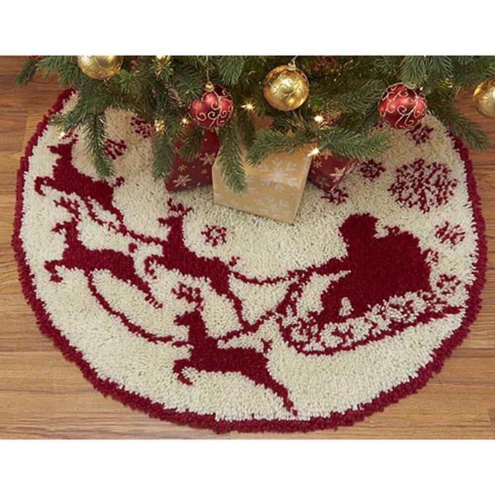 craftways santas sleigh tree skirt latch hook kit walmartcom