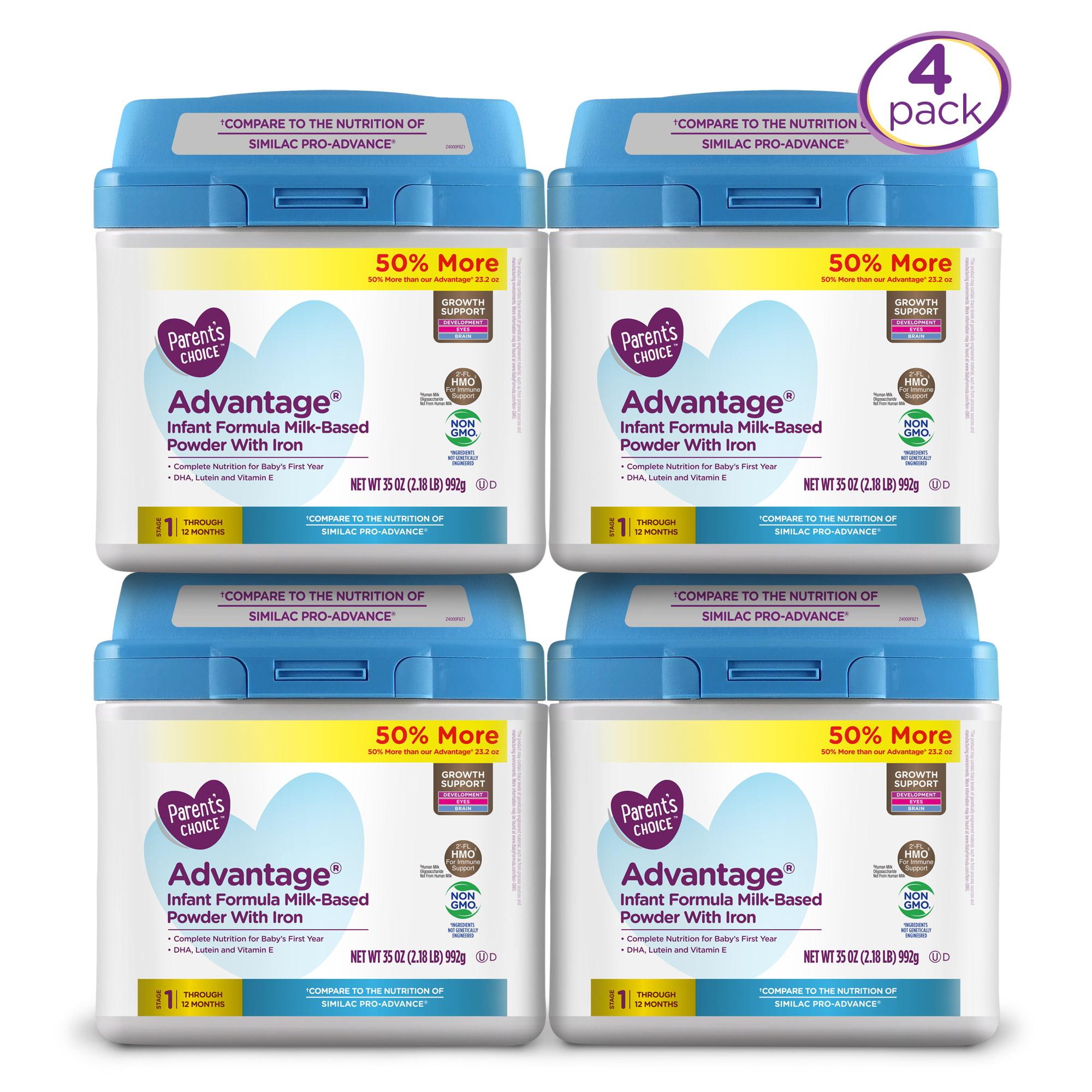 Parent's Choice HMO and Non-GMO Advantage Infant Formula Economy Pack (4 Tubs of 35oz each) 140oz