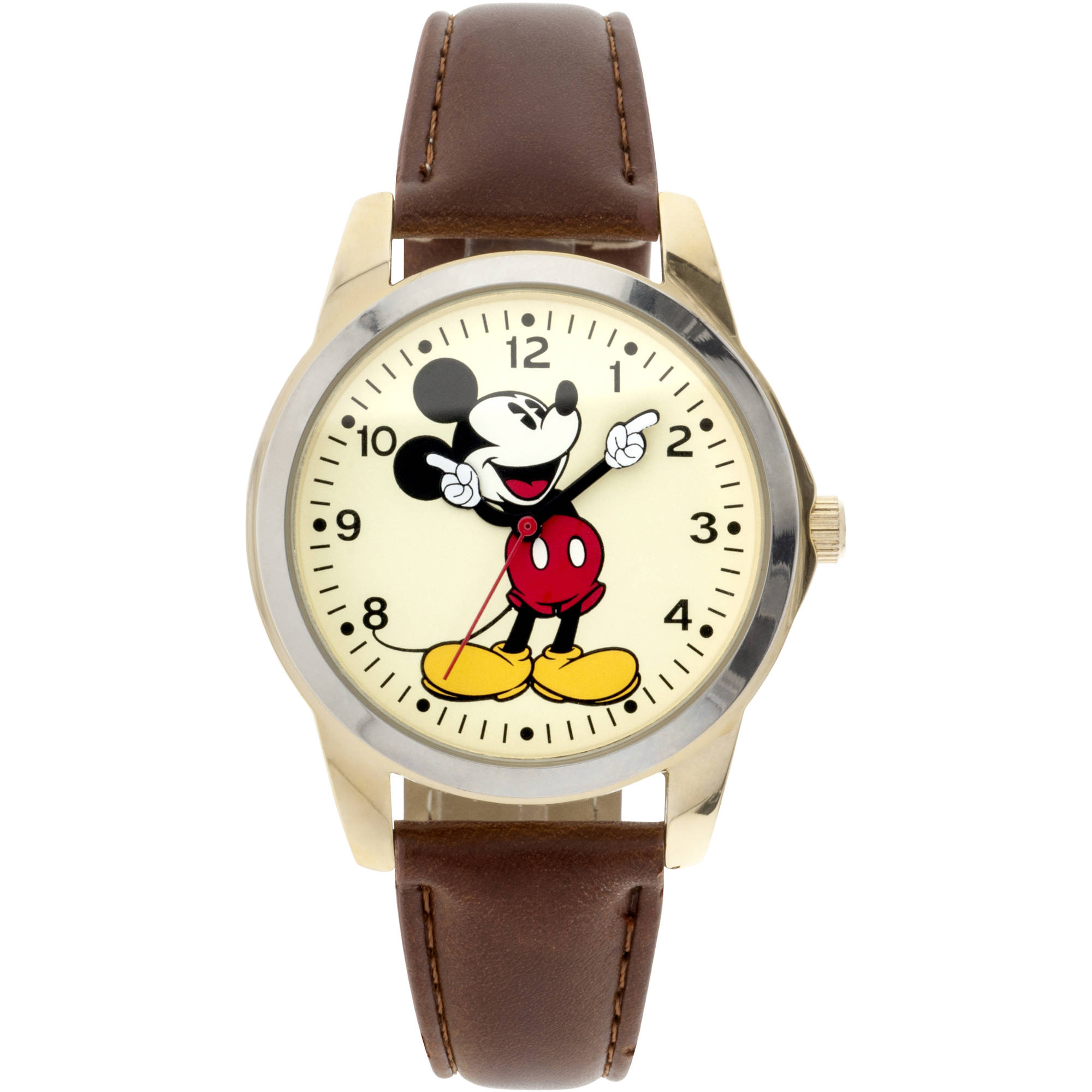 Disney Mickey Mouse Men's Round Imitation Gold and Brown Watch, Faux Leather Strap