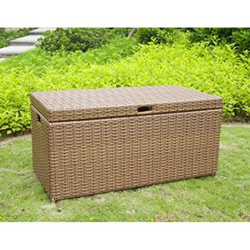 Jeco Wicker Patio Storage Deck Box in Honey by Jeco