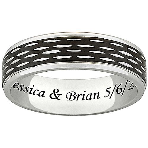 Personalized Men's Titanium Two-Tone Textured Engraved Band