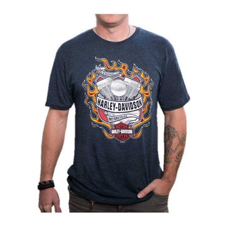 Harley-Davidson Mens Hot Flaming Engine Short Sleeve T-Shirt, Midnight Navy (XL), Harley Davidson (Harley Engine Parts)