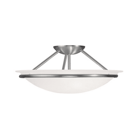 Nickel 16 Light - Semi Flush Mounts 3 Light With White Alabaster Steel Brushed Nickel size 16 in 225 Watts - World of Crystal