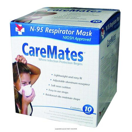 CarematesTM Cone Style N95 Mask, Air Purifying Respirator - Box of 10, Contoured to the shape of your face. By SHEPARD MEDICAL PRODUCTS Ship from