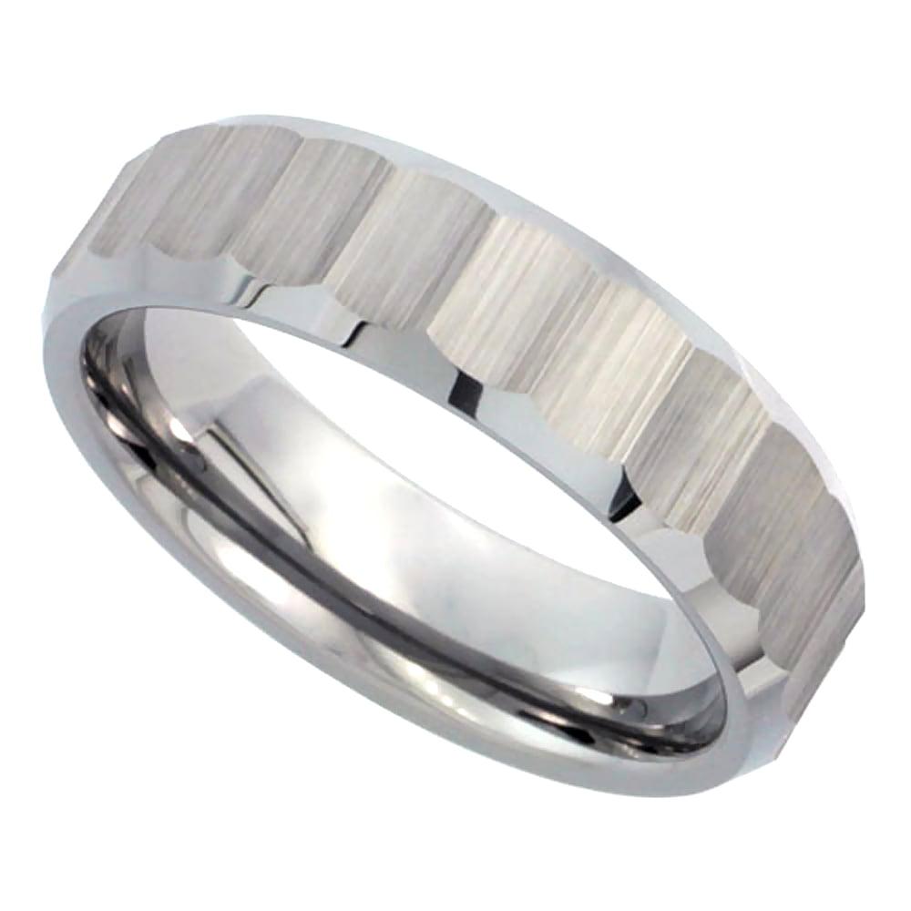 6mm Tungsten 900 Wedding Ring Ribbed Matte Diamond Cut Finish Bamboo