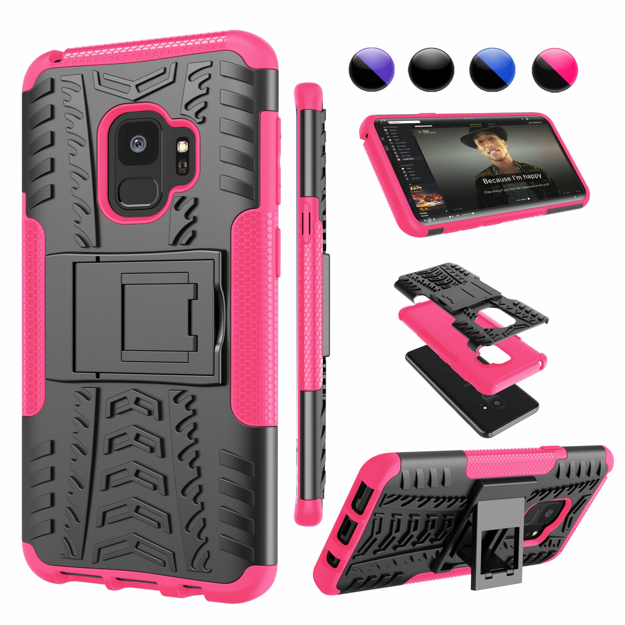 Samsung S9 Cover, Galaxy S9 Case with Stand, Galaxy S9 Cover, SM-G960 Cover, Njjex Hybrid [Kickstand][Non-slip] Full-body Rugged ShockProof Protection Case For Samsung Galaxy S9 -Hot Pink