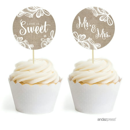 Burlap Lace Wedding Cupcake Topper DIY Party Favors Kit, 20-Pack