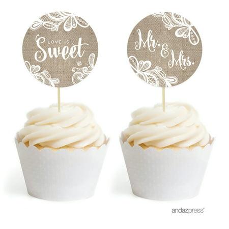 Burlap Lace Wedding Cupcake Topper DIY Party Favors Kit, 20-Pack (Cupcake Favors)