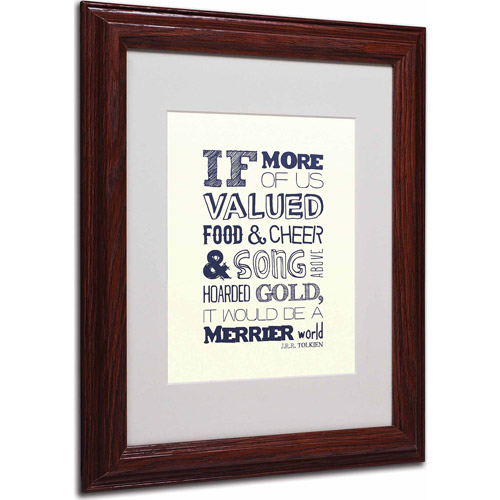 "Trademark Fine Art ""Good and Cheer I"" Matted Framed Art by Megan Romo, Wood Frame"