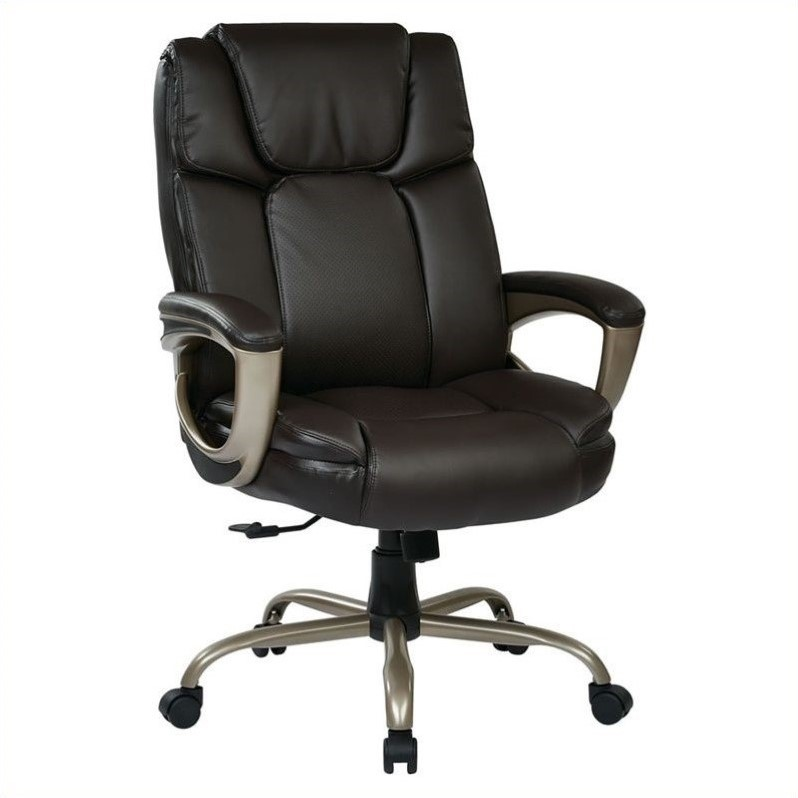 Executive Espresso Eco-Leather Big Mans Chair with Cocoa Metal Base, Supports up to 350 lbs
