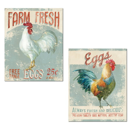 Distressed Light Blue and Red Farm Fresh Eggs Rooster Set by Danhui Nai; Kitchen Decor; Two 11x14in Unframed Paper Posters