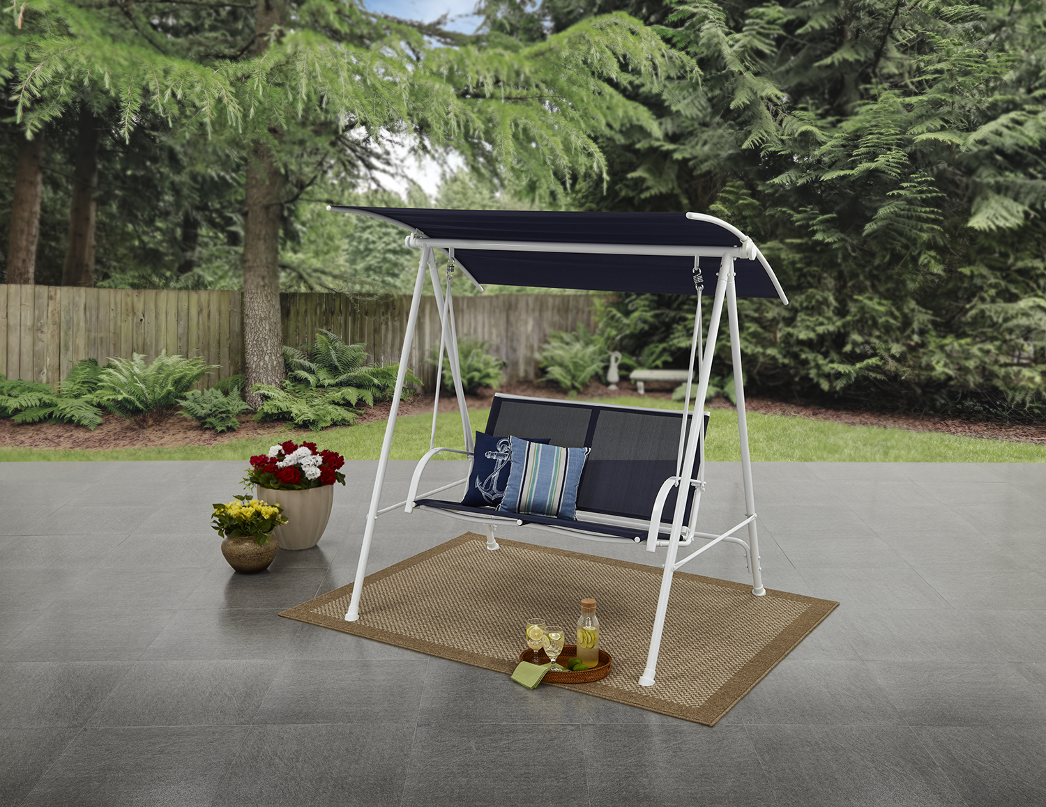 Mainstays Two Person Cushioned Canopy Porch Swing by Yotrio Group Co., Ltd.