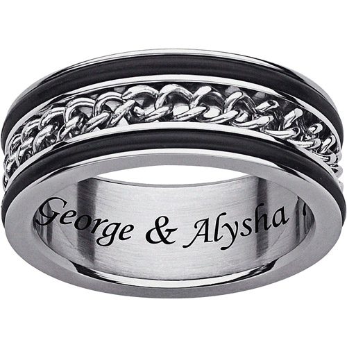 Personalized Spinner Chain Black Row Engraved Ring in Titanium