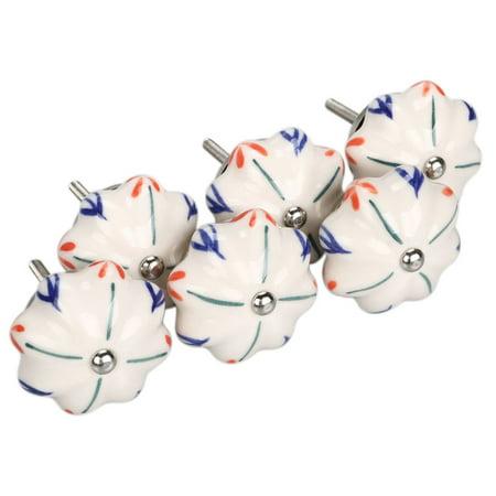 6pcs Household Delphinium Anthriscifolium Hance Pattern Hand Painted Ceramic Door Knobs Cabinet Drawer Pull Handles