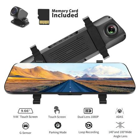 ACUMEN Digital Rear View Mirror 10'' Touch Screen Dual Lens Cameras 1080P Mirror Dash Cam Night Vision Parking Mode G-Sensor Loop-Recording