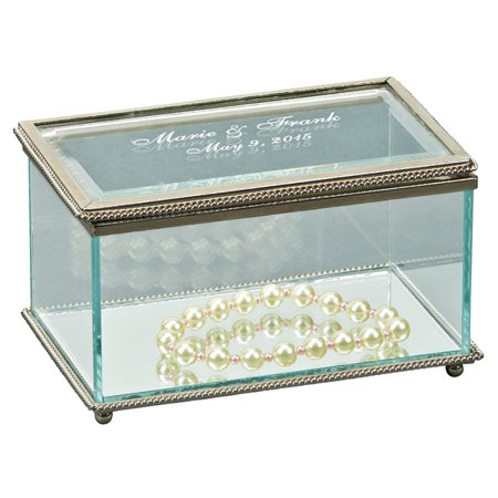Personalized Rectangular Hinged Jewelry Box, Glass (Personalized Boxes)