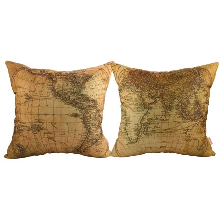 Luxbon- World Map Pattern Cotton Linen Throw Pillow Cases Cushion Covers 18 x 18