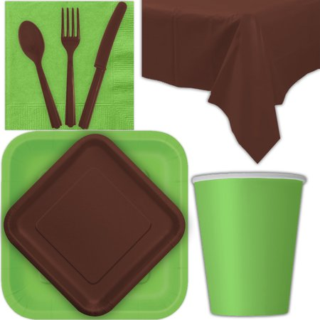 Disposable Party Supplies for 28 Guests - Lime Green and Brown - Square Dinner Plates, Square Dessert Plates, Cups, Lunch Napkins, Cutlery, and Tablecloths:  Tableware Set - Brown Party Supplies